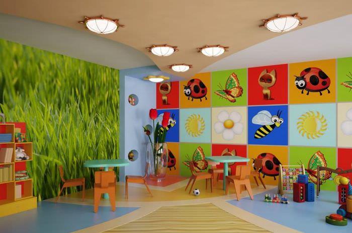 Рисунки насекомых в интерьере детского сада