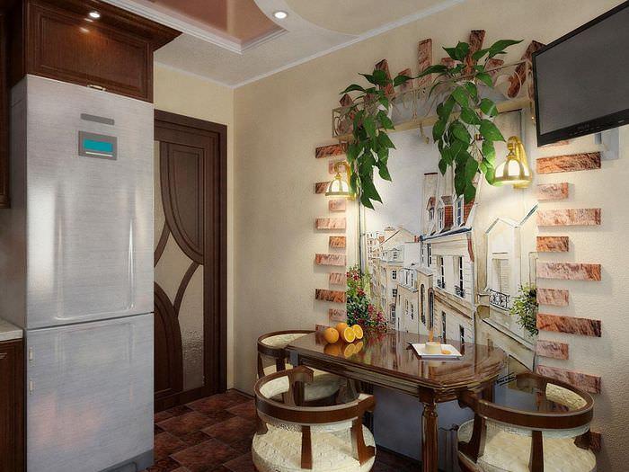 Оригинальное декорирование стены в обеденной зоне