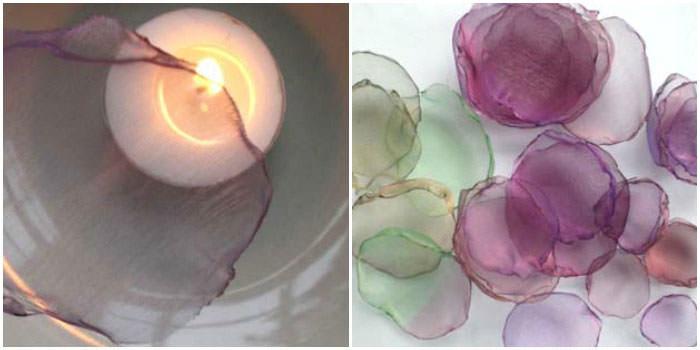 Обработка краев заготовок цветочных лепестков над свечой