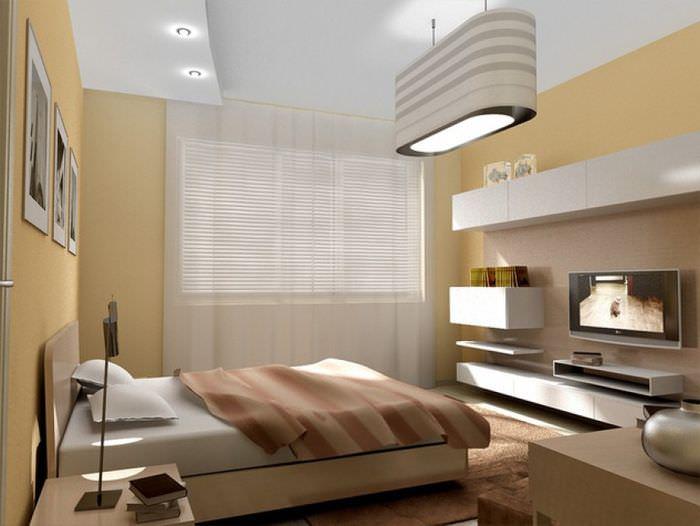Подвесные шкафы на стене спальни стиля хай-тек