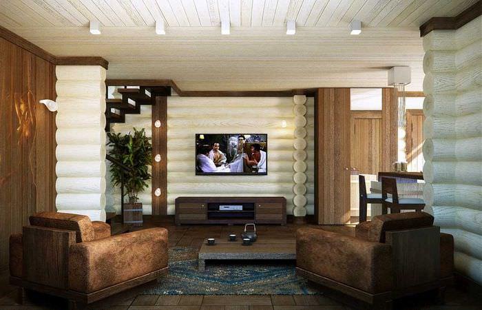 Дизайн светлой гостиной в бревенчатом доме