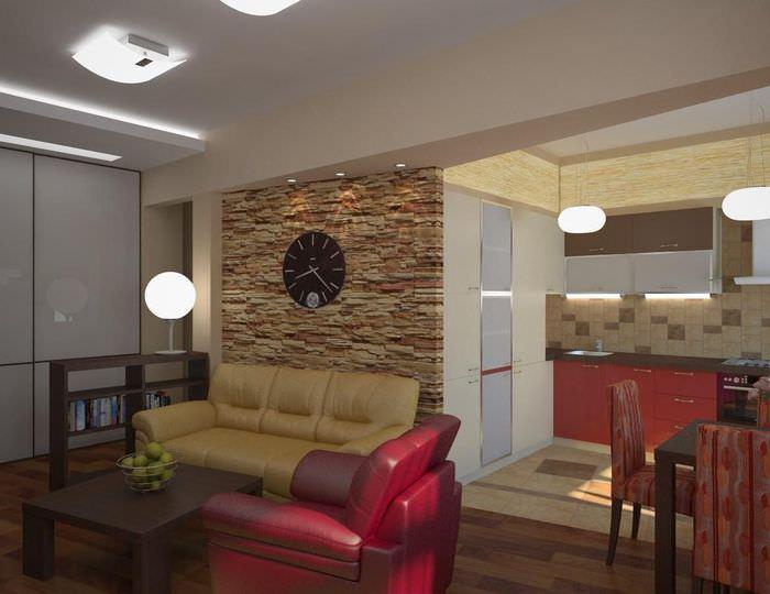 Декорирование искусственным камнем стены над диваном