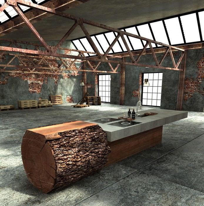 Интерьер просторной кухни в необычном стиле