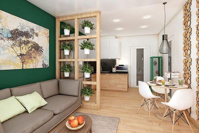 светло-коричневый пол в интерьере кухни-гостиной