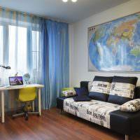 Декорирование стены детской комнаты с помощью карты