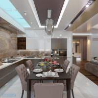 Обеденная зона в столовой-кухне