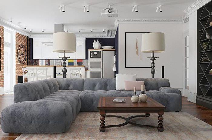 Серый угловой диван в однокомнатной квартире