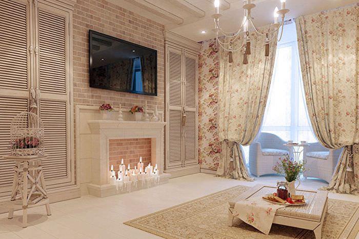 Интерьер гостиной панельного дома в стиле прованс