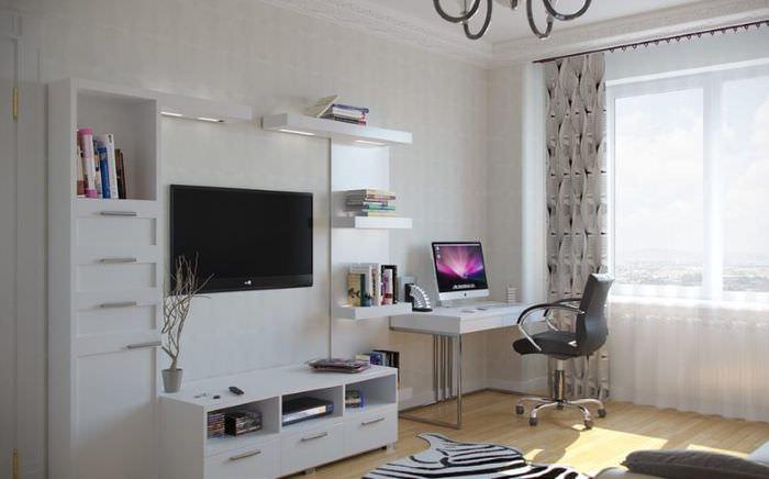 Оформление места для работы в общей комнате