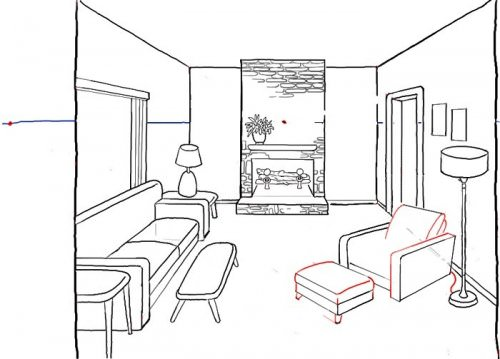 Эскиз дизайна гостиной в черно-белом цвете