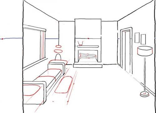 Рисование карандашом мебели на листке бумаги
