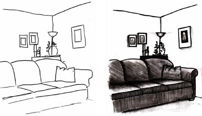 Пример нарисованного дивана в дизайне комнаты