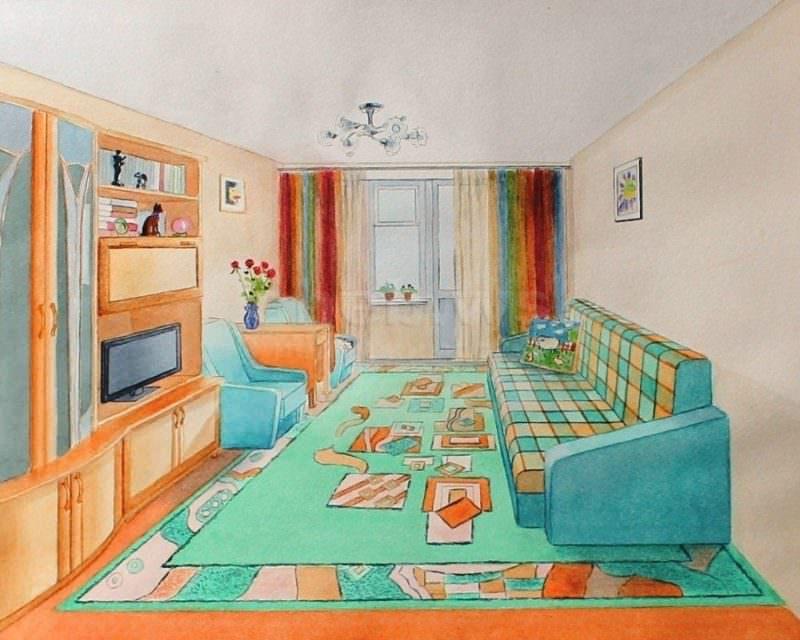 Нарисованный дизайн зала в двухкомнатной квартире