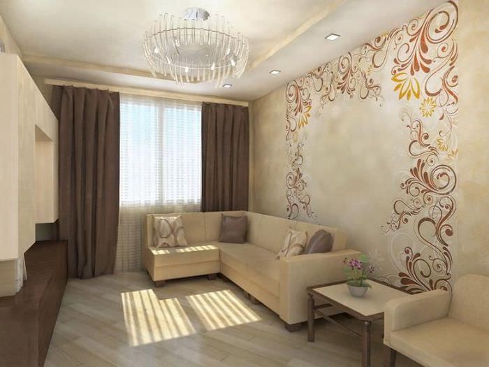 Интерьер гостиной панельного дома в бежевом цвете