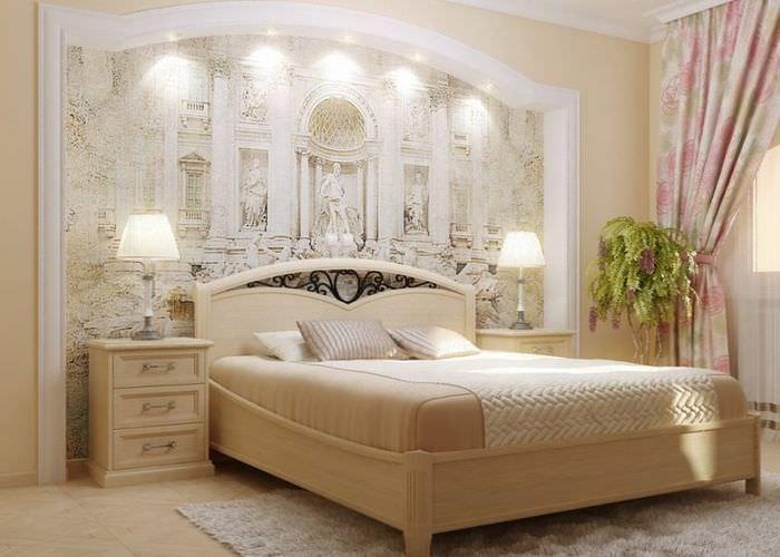 Интерьер светлой спальни в итальянском стиле