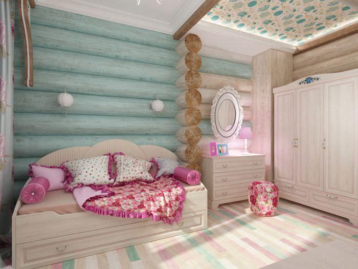 Интерьер детской комнаты для девочки в срубовом доме