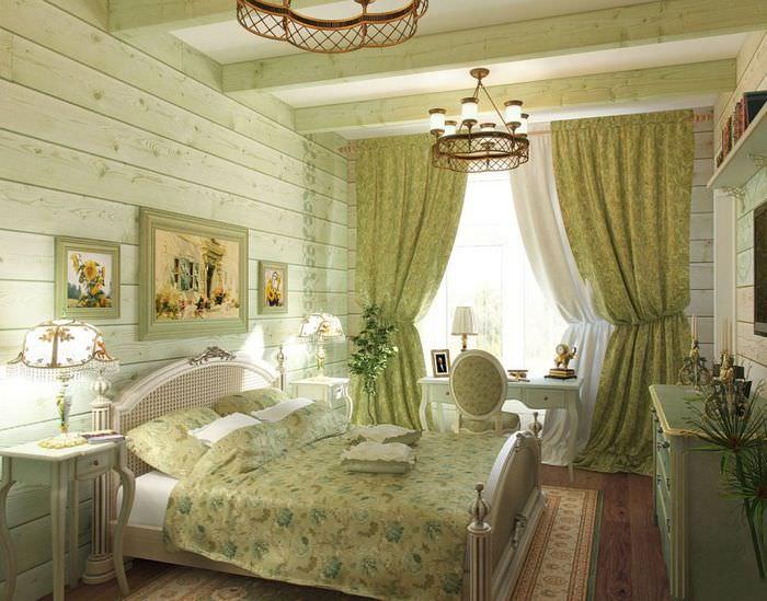 Интерьер уютной спальни в стиле прованс