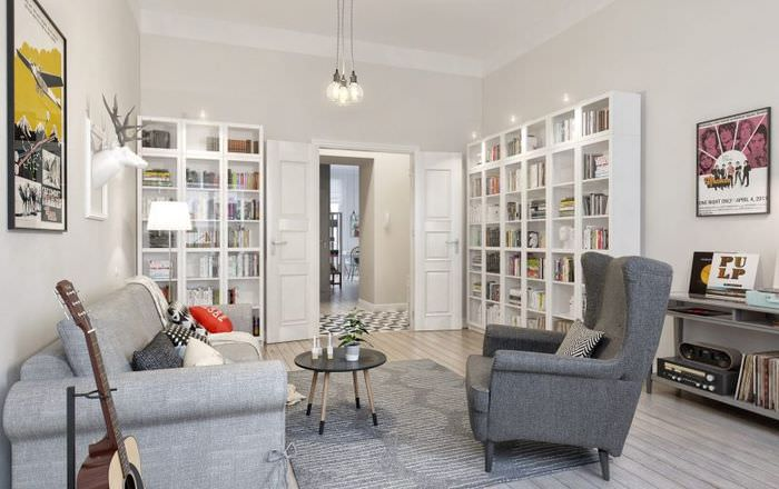 Белая гостиная в скандинавском стиле