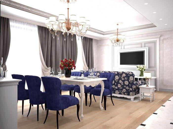 Освещение в гостиной-кухне современной квартиры