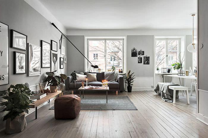 Светлая гостиная в скандинавском стиле