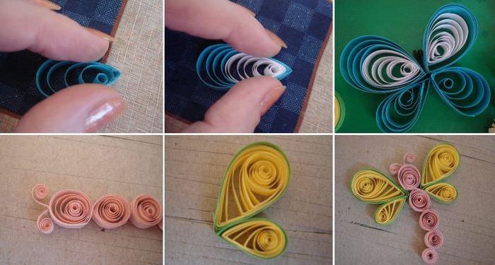 Процесс изготовления декоративной бабочки из цветной бумаги