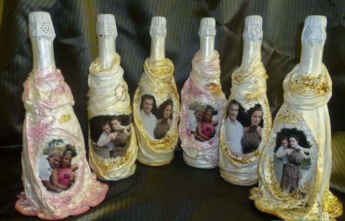 Декорирование бутылок шампанского для свадьбы своими руками