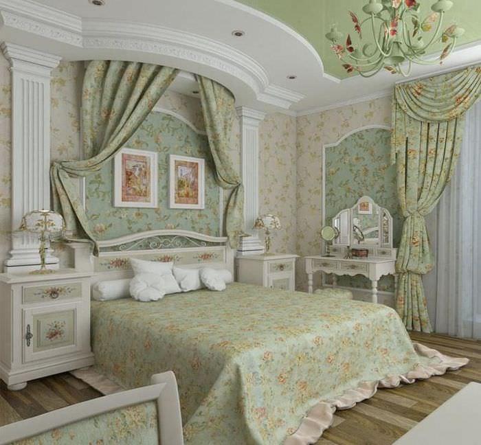 Интерьер спальной комнаты в стиле прованса