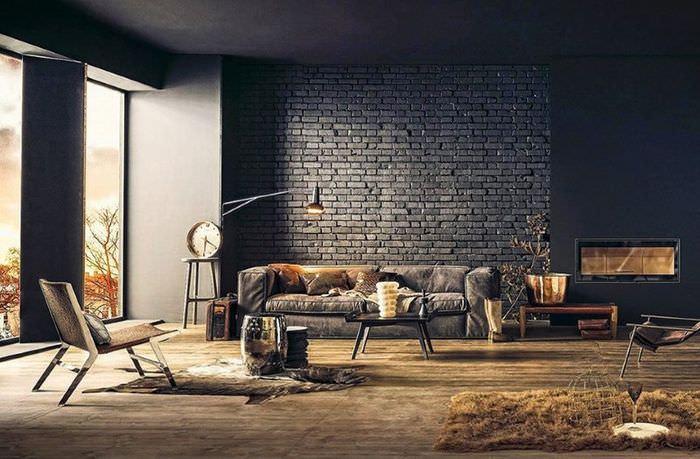 Темные кирпичные стены в доме индустриального стиля