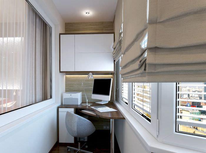 Дизайн рабочего кабинета в утепленной лоджии