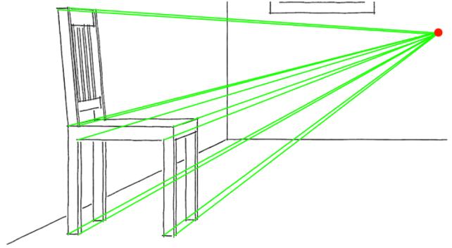 Рисование стула с помощью точки схода и направляющих линий
