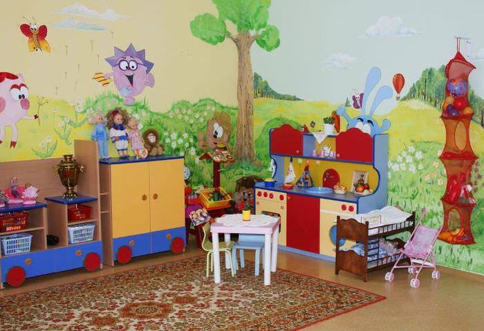 Оформление стен детского сада рисунками из мультфильмов