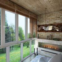Имитация камина в интерьере балкона