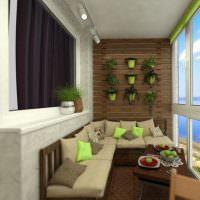 Угловой диван в интерьере благоустроенного балкона