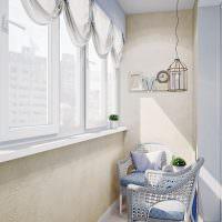 Отделка стен балкона декоративной штукатуркой