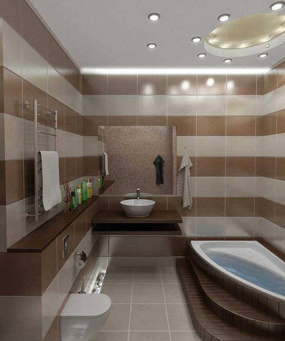 Коричневая плитка в интерьере ванной частного дома