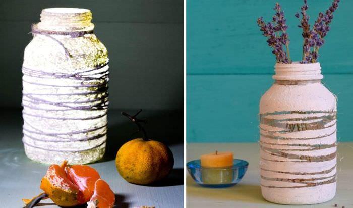 Декоративная ваза из обычной стеклянной банки своими руками