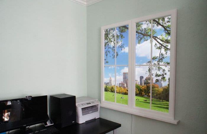Виртуальное окно на стене офиса
