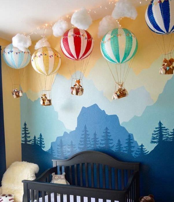 Декорирование шарами интерьера комнаты для новорожденного