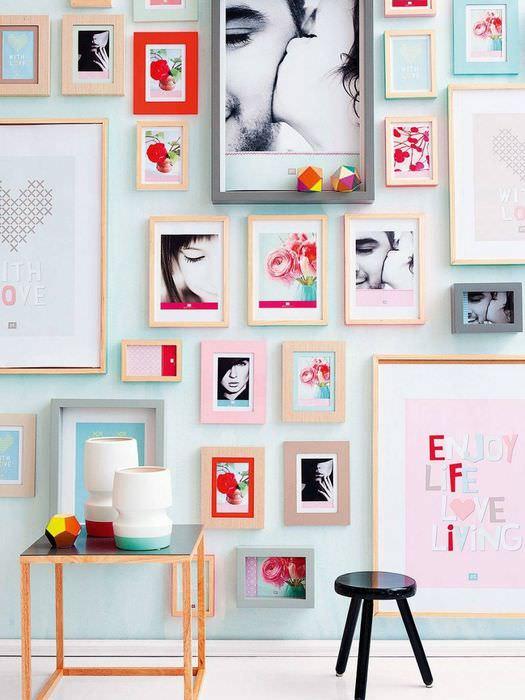 Красочное оформление стены с помощью фотографий