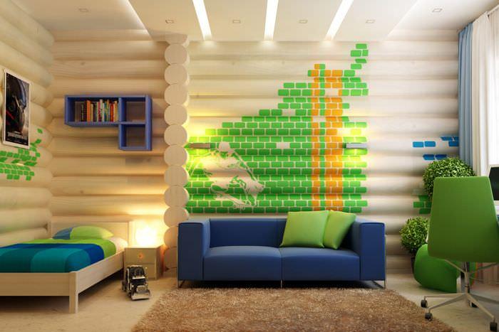 Акценты зеленого цвета в детской комнате