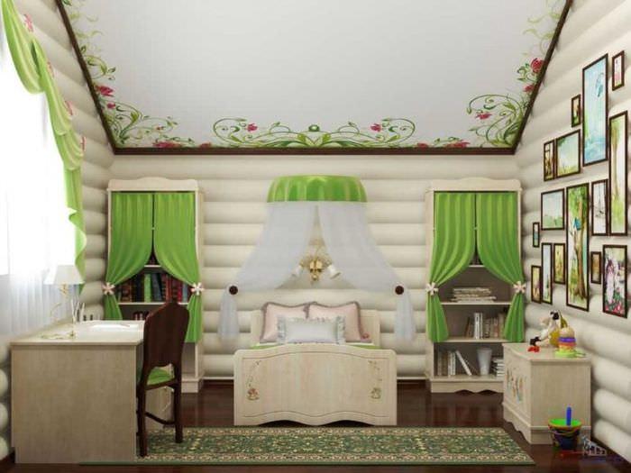 Зеленые занавески в детской комнате