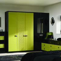 Черно-зеленый мебельный гарнитур