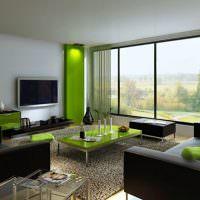 Дизайн гостиной с панорамным окном