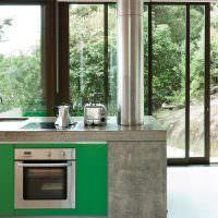 Серые бетонные поверхности кухонного острова