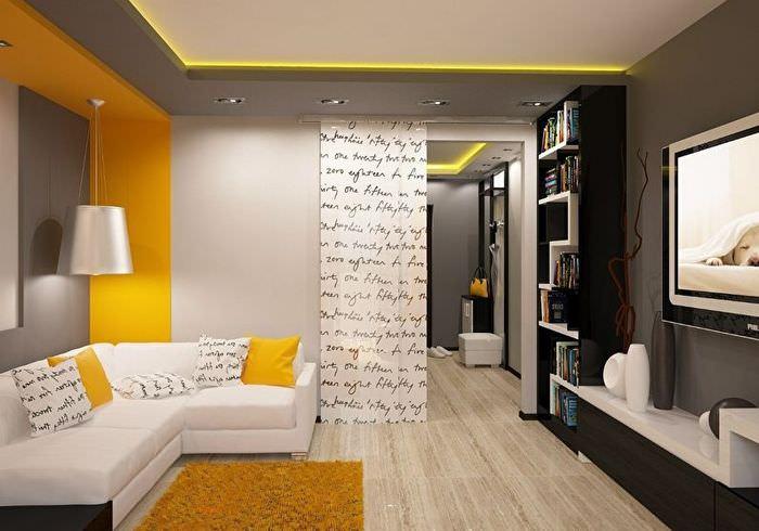 Акценты желтого цвета в дизайне гостиной