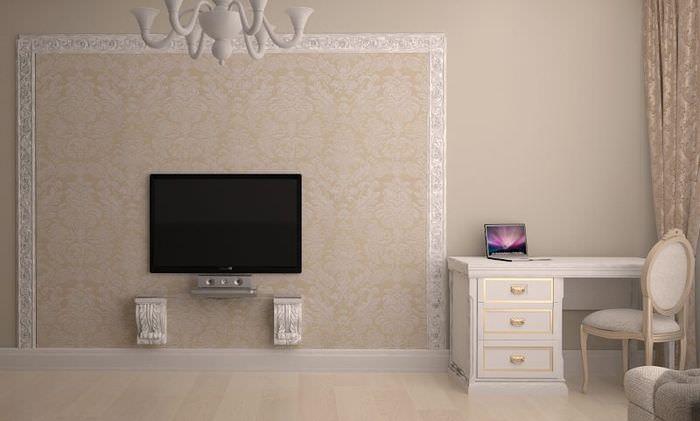 Зонирование обоями стены с телевизионной панелью
