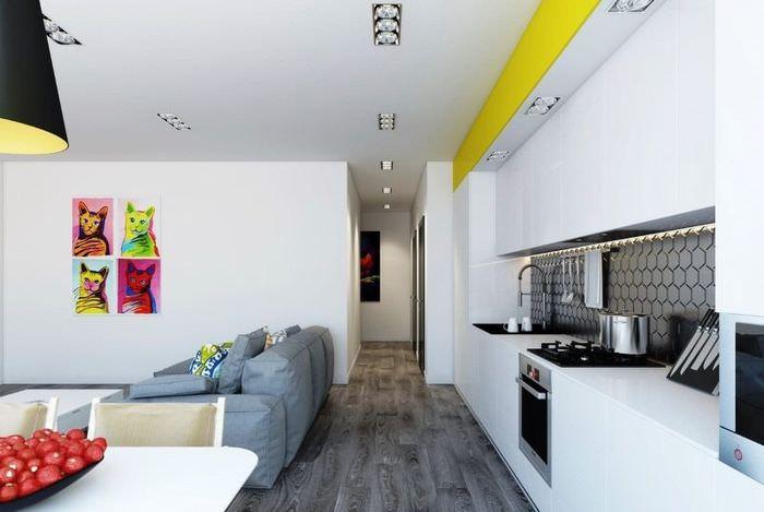 Белый кухонный гарнитур линейной планировки