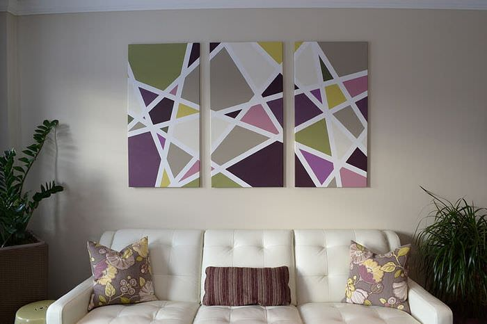 Модульная картина с геометрическим принтом
