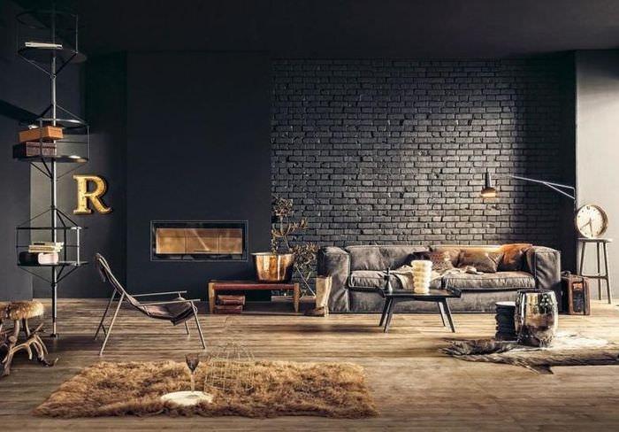 Черная стена из кирпича в интерьере гостиной