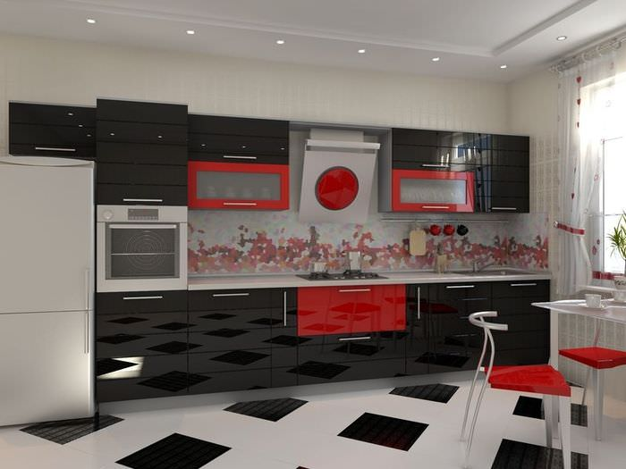 Черно-белая гарнитур в современной кухне